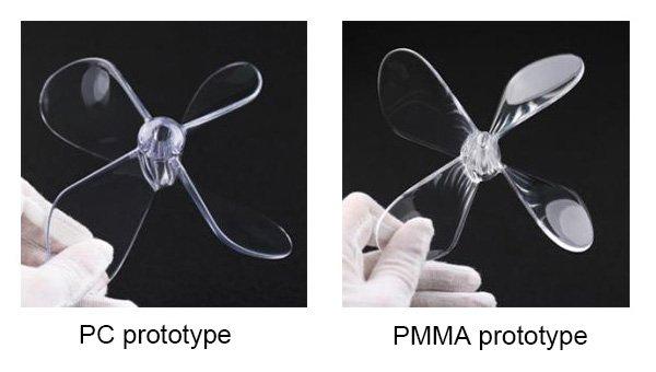Pc prototype and PMMA prototype